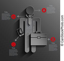 vettore, eps10, infographic, fondo, uomo affari, design.