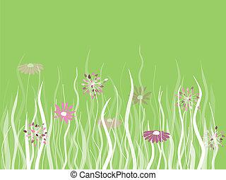 vettore, erba, con, fiori