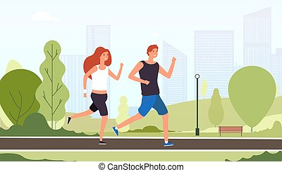 vettore, estate, addestramento, esterno, stile di vita, tipi, coppia, parco, giovane, insieme, jogging, concetto, idoneità, attivo, running., sorridente, amici, felice