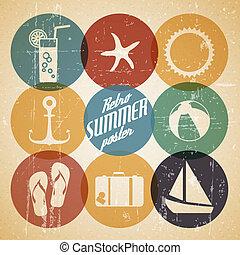 vettore, estate, fatto, manifesto, icone