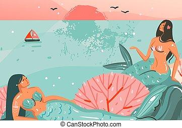 vettore, estate, grafico, fondo, bellezza, astratto, tempo, ragazze, scena, isolato, paesaggio, sagoma, oceano, illustrazioni, disegnato, mano, spiaggia, cartone animato, sirena