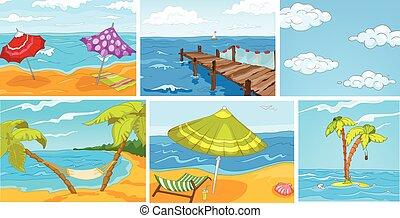 vettore, estate, set, cartone animato, backgrounds.