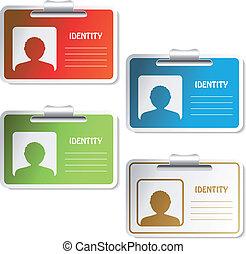 vettore, etichetta, identità