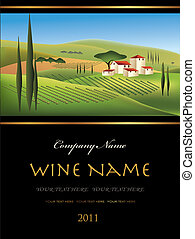 vettore, etichetta vino