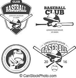 vettore, etichette, baseball, vendemmia, logos, set, emblemi, tesserati magnetici