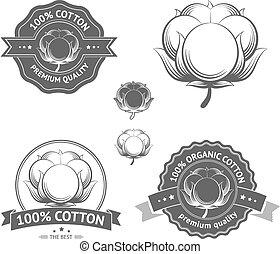 vettore, etichette, cotone