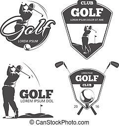 vettore, etichette, emblemi, tesserati magnetici, vendemmia, golf
