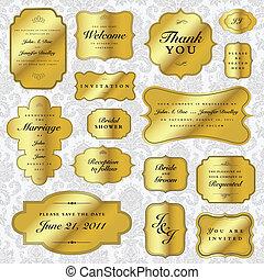 vettore, etichette, set, oro