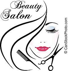 vettore, faccia, logotipo, donna, carino, salone bellezza