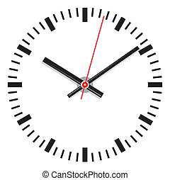 vettore, faccia orologio