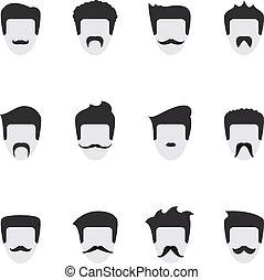 vettore, faccia, set, baffi, icone