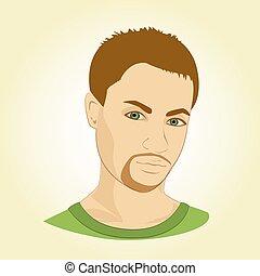 vettore, faccia, uomo, illustration., giovane