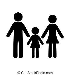 vettore, famiglia, icona