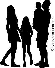 vettore, famiglia, work., silhouettes.