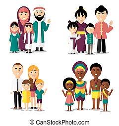 vettore, families., icone, arabo, set, africano, caratteri, asiatico, europeo