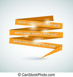vettore, fatto, carta, discorso, arancia, bolla