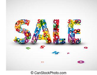 vettore, fatto, lettere, vendita, etichetta