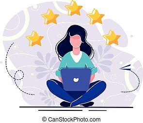 vettore, feedback, persone, riuscito, score., lavoro, illustrazione, permesso, fondo., punteggio, cinque, esecuzione, comments, bianco, il più alto, points., valutazione, meglio