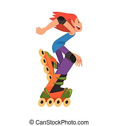vettore, felice, cartone animato, rollerblading, adolescente...
