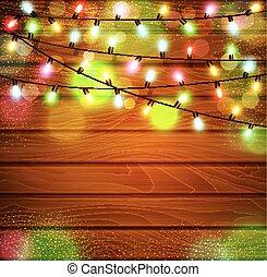 vettore, festivo, fondo, di, luminoso, garlands, luce, lampadine, su, uno, legno, fondo