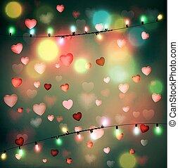 vettore, festivo, fondo, per, giorno valentine, con, cuori, e, ardendo, ghirlanda