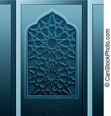 vettore, festivo, fondo, per, il, vacanza, di, ramadan, kariim., finestra, openwork, grata