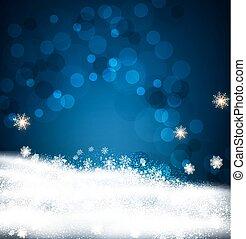 vettore, festivo, fondo, per, natale anno nuovo, con, fiocchi neve, e, neve