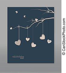 vettore, festivo, fondo, valentine, day., vintage., sagoma, per, postcards., cuori, appendere, uno, ramo albero