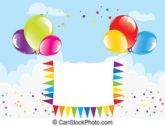 vettore, festivo, palloni coloriti, e, bandiera, in, il, cielo