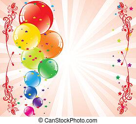 vettore, festivo, palloni, e, light-burst, con, spazio, per, testo