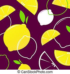 vettore, fette limone, retro, fondo, o, modello, -, giallo, &, scuro