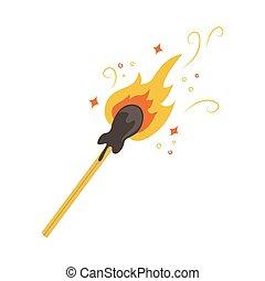 vettore, fiammifero, illustrazione, illuminato, appartamento, sparks.