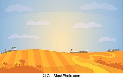 vettore, field., paesaggio, illustration.