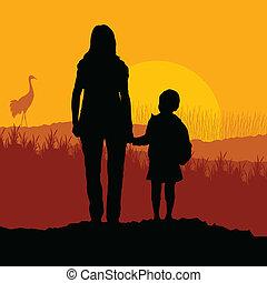 vettore, figlia, paesaggio, madre