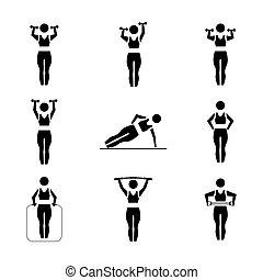 vettore, figure, set, illustration., bastone