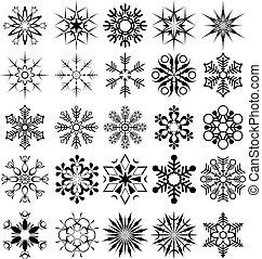 vettore, fiocco di neve, collezione
