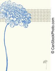 vettore, fiore blu, fondo