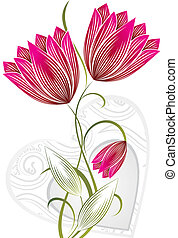 vettore, fiore, con, cuore