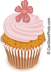 vettore, fiore, cupcake