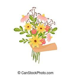 vettore, fiore, fondo., bianco, illustrazione, grande, mazzolino, mano.
