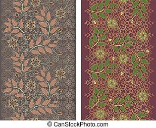 vettore, fiore, laccio, verticale, pattern., seamless, set, 2.