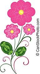 vettore, fiori, 2, flourishes