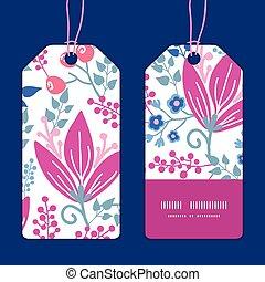 vettore, fiori dentellare, striscia verticale, cornice, modello, etichette, set