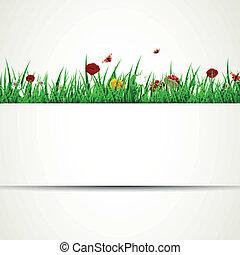vettore, fiori, erba, fondo