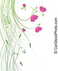 vettore, fiori, fondo