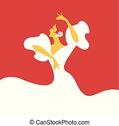 vettore, flamenco, dancer., illustrazione, spagnolo