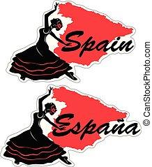 vettore, flamenco, dancer., illustrazione