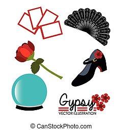 vettore, flamenco, disegno, illustration.