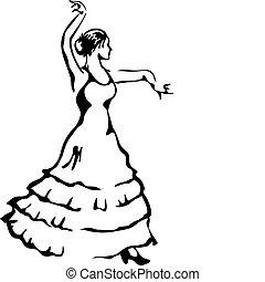 vettore, flamenco, illustration., dancer.
