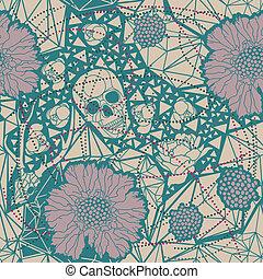 vettore, floreale, ornament., illustrazione, cranio